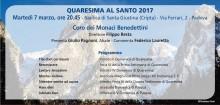 7 Marzo ore 20.45 Coro dei Monaci Benedettini nella Cripta della Basilica di Santa Giustina
